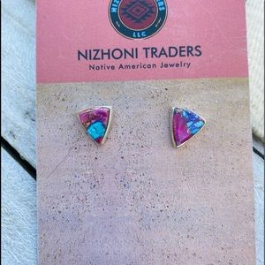 Navajo Pink Dream Mojave & Sterling Stud Earrings